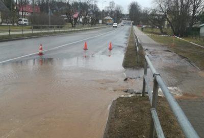 Ūdensvada avārija Smiltenē Atmodas ielā