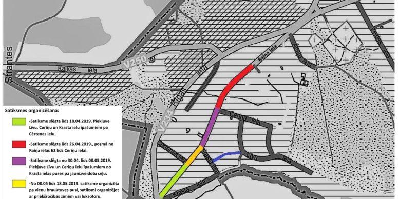 Satiksmes organizācijas izmaiņām Raiņa ielā līdz šā gada 19. maijam